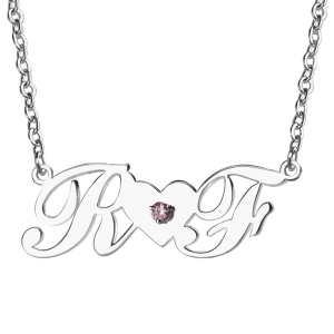 Sterling Silver Double Initials Lovers Necklace with Birthstone