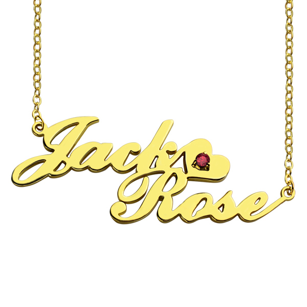 Gold Double Nameplate Lovers Name Necklace Carrie Style