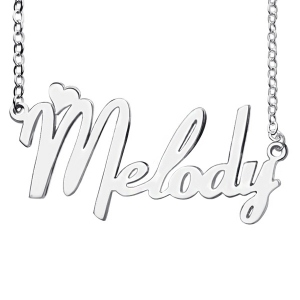 Noble Personalized Sterling Silver Fiolex Girls Fonts Heart Name Necklace