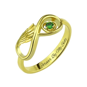 Angel Wing Infinity Heart Ring with Birthstone Gold Plated