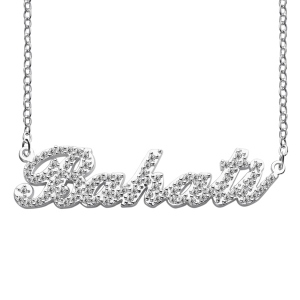 Classic Sterling Silver Full Birthstone Carrie Name Necklace