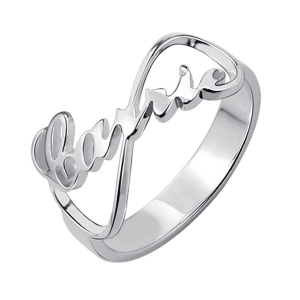 Dainty Custom Name Ring-Personalized Infinity Nameplate Ring Carrie Style Sterling Silver