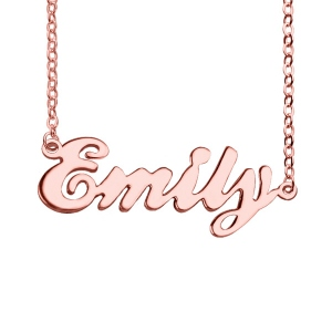 A Romantic Lovely Cursive Name Plate Necklace 18K Rose Gold Plated
