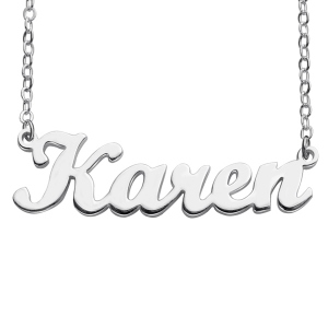 Personalized Script Name Necklace Sterling Silver