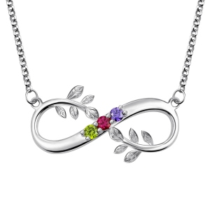 Tree-Branch Infinity Necklace With Birthstones Platinum Plated