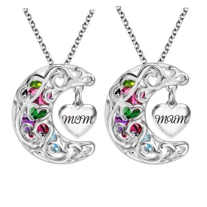 To The Moon And Back Cage MOM(MUM) Necklace Platinum Plated