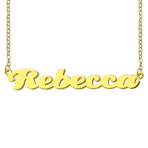 Personalized Solid Gold Puff Font Name Necklace