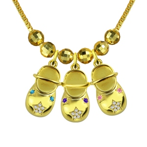 Engraved Baby Shoe Charm Necklace with Birthstones Gold Plated