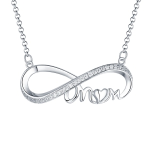 Custom Infinity Birthstone Necklace For Mother Sterling Silver