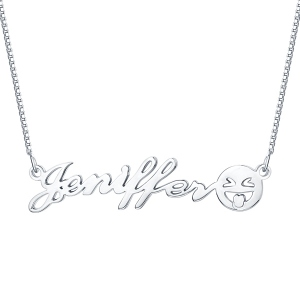 Personalized Name Emoji Necklace Sterling Silver