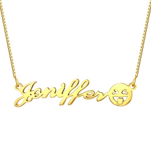 Lovely Personalized Name Emoji Necklace in Gold