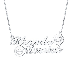 Personalized Memorial Initial Double Name Emoji Necklace Sterling Silver