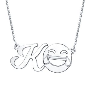 Personalized Memorial Initial Emoji Letter Necklace Sterling Silver