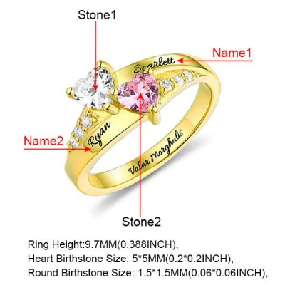 Personalized Heart Birthstone Ring With Engraving In Gold