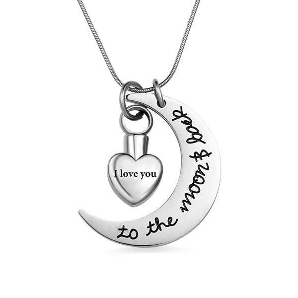 Personalized Love You To The Moon Back Urn Necklace For Ashes