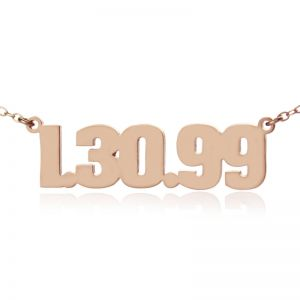 Rose Gold Plated Silver Number Plate Necklace Charm Men's Jewelry