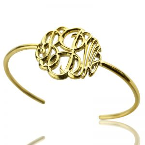 18K Gold Plated Monogram Bangle Bracelet Hand-painted