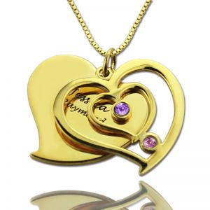 His & Her Birthstone Heart Name Necklace 18k Gold Plated