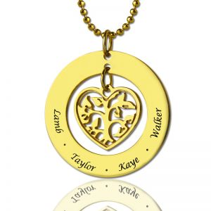 Circle Family Tree Name Pendant Necklace In Gold