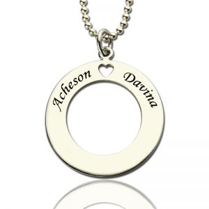 Personalized Circle of Love Name Necklace Silver for Couples