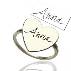 Personalized Handwriting Signature Ring Sterling Silver