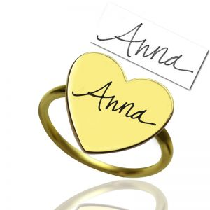 Custom Gold Heart Signet Ring With Your Signature