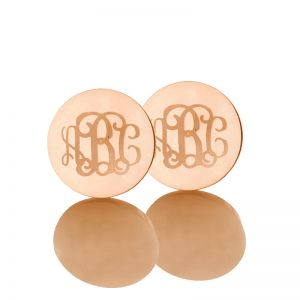 Disc Engraved Monogram Stud Earrings Rose Gold