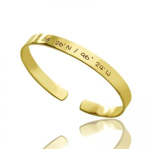 Engravable Latitude Longitude Coordinate Cuff Bracelet 18k Gold Plated