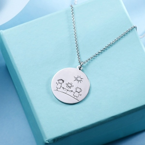 Personalized Graffiti Disc Necklace