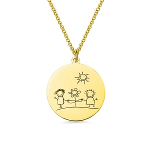 Personalized Graffiti Disc Necklace in Gold