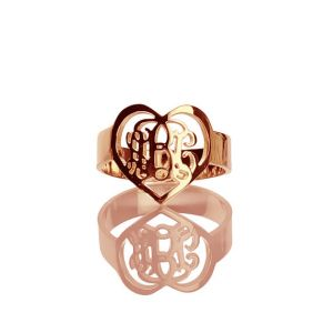 Handmade 3-Initial Monogram Heart Shape Initials Ring Rose Gold