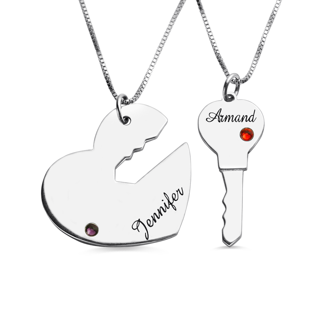 Key to My Heart Name Pendant Set For Couples