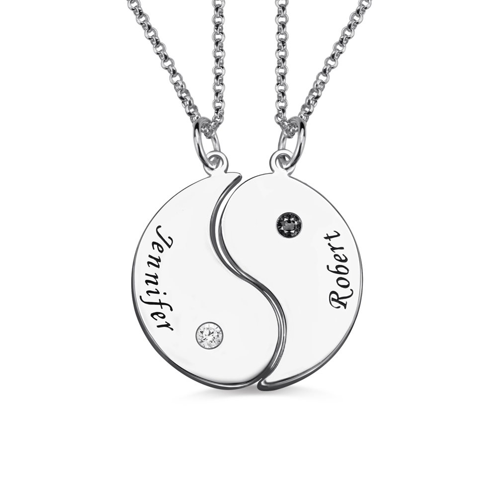 Gifts For Him Her Yin Yang Necklace Set With Name Birthstone
