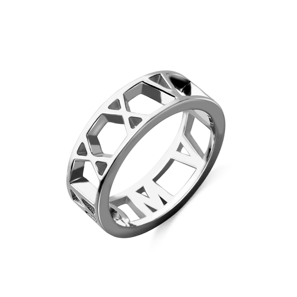 925 Sterling Silver Atlas Style Roman Numeral Stacking Band Ring 3 mm Wide