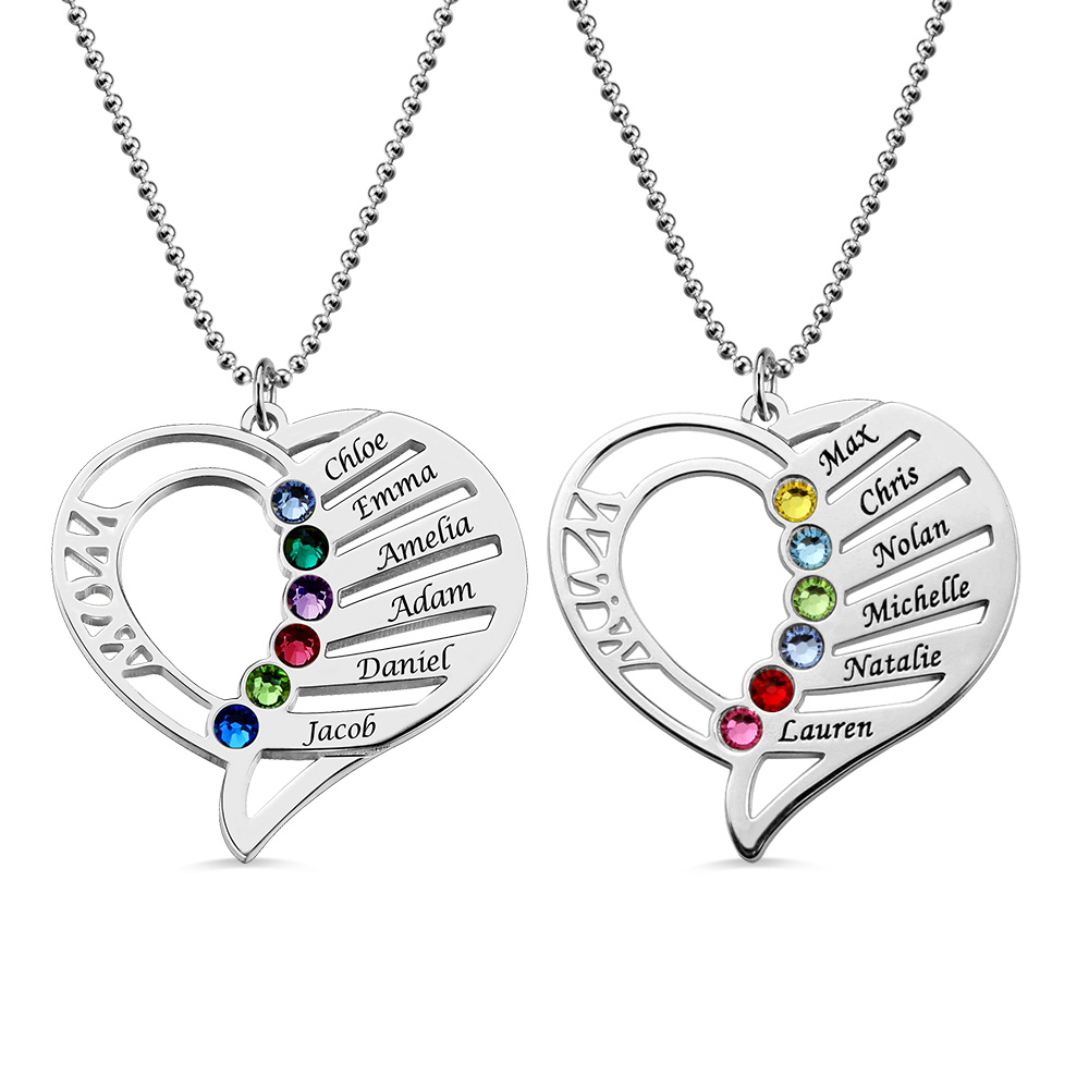 Heart Mother's Necklace with Name & Birthstone