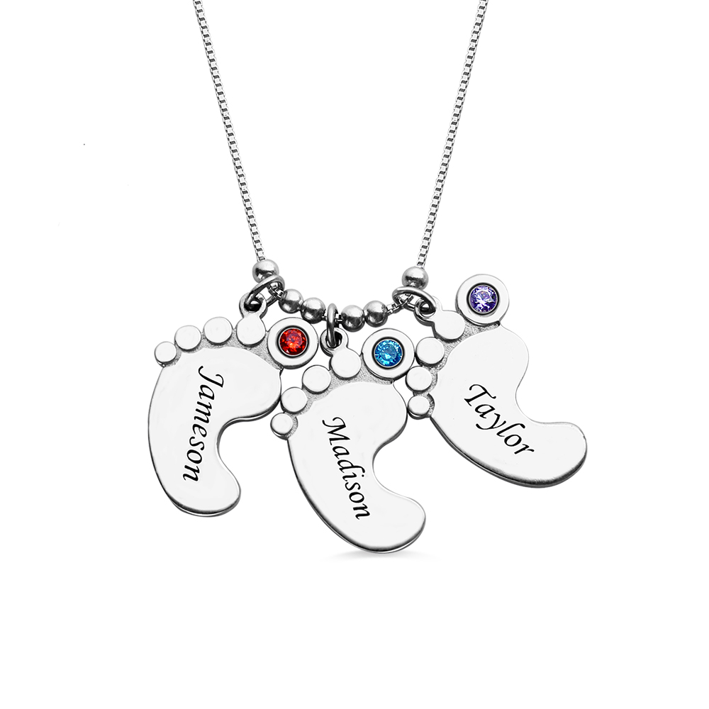 Personalized Engraved Mother's Baby Feet Charm Necklace