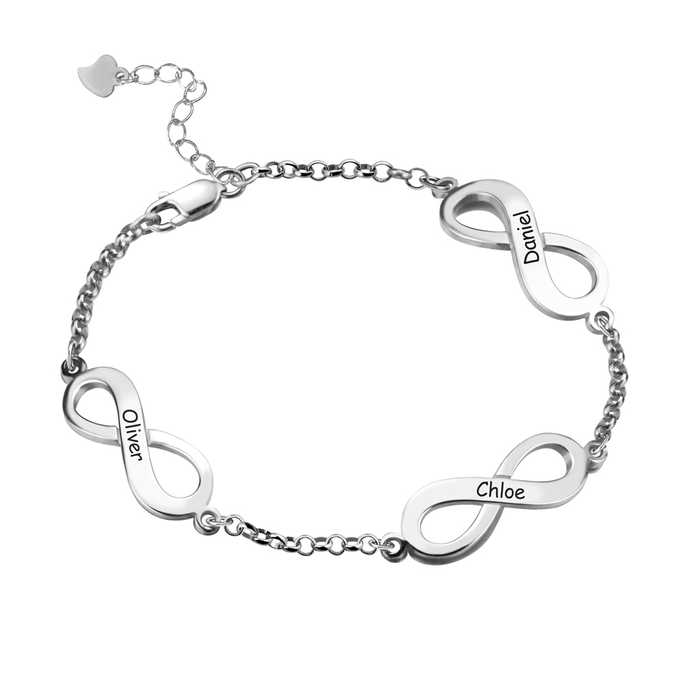 Personalized Triple Infinity Name Bracelet Sterling Silver