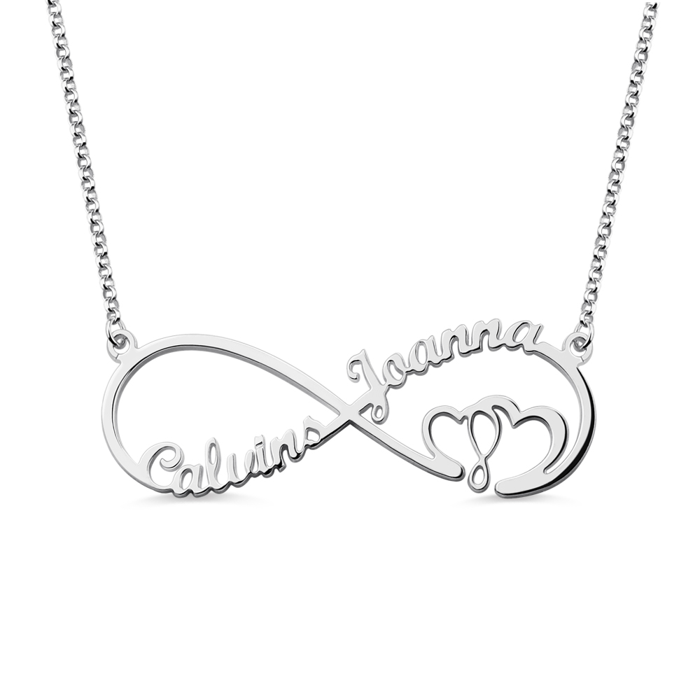 Heart in Heart Infinity Necklace with Name