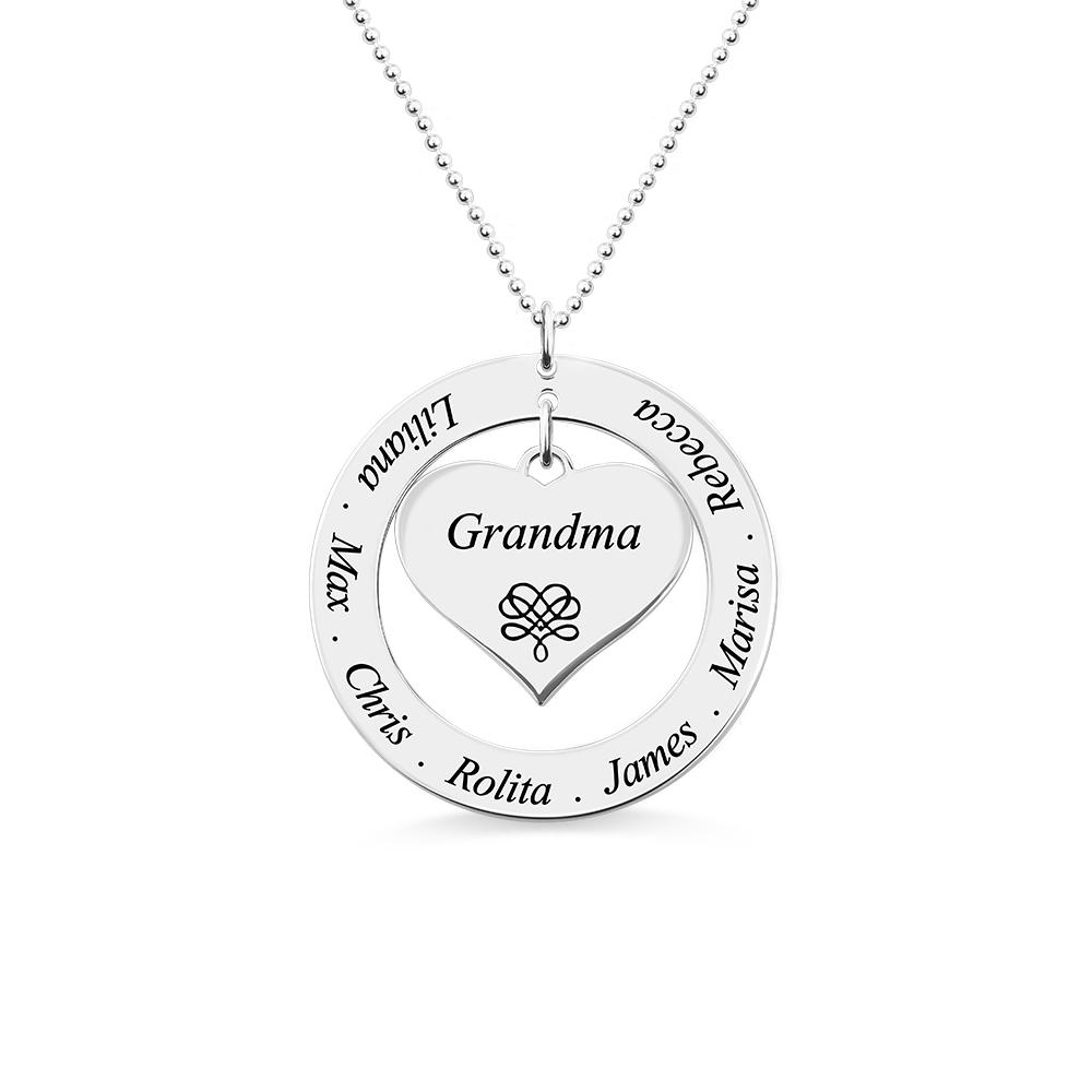 Circle Grandma Heart Pendant Necklace Engraved Kids Names