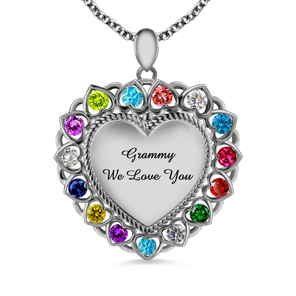 Getname Necklace Engraved Circle Heart Name Necklace Family Necklace Sterling Silver 925 Pendants for Women Grandma
