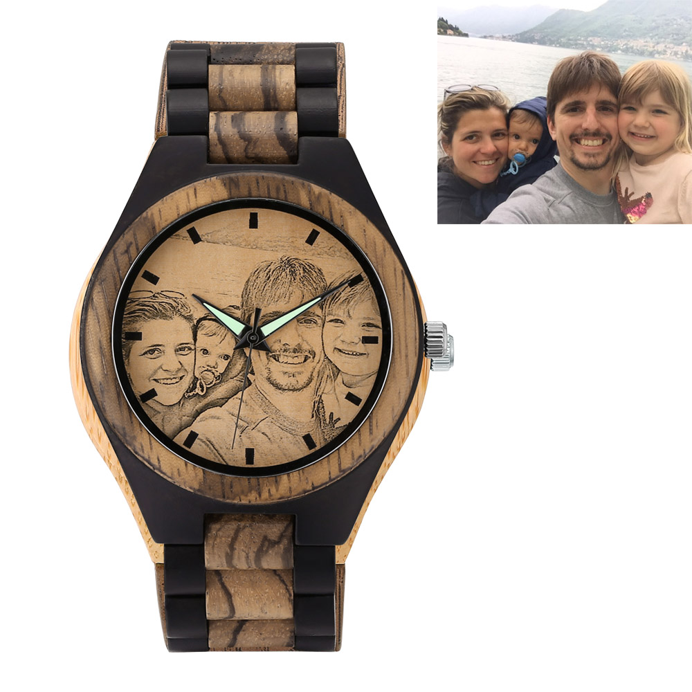 Personalized Photo Zebra Ebony Wooden Watch