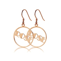 Rose Gold Plated Silver 925 Broadway Font Circle Name Earrings
